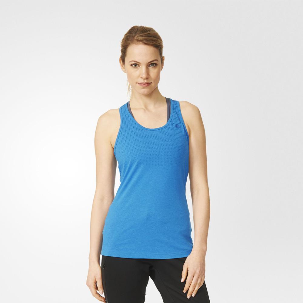 adidas aeroknit womens blue climacool gym training sports vest tank top ebay. Black Bedroom Furniture Sets. Home Design Ideas