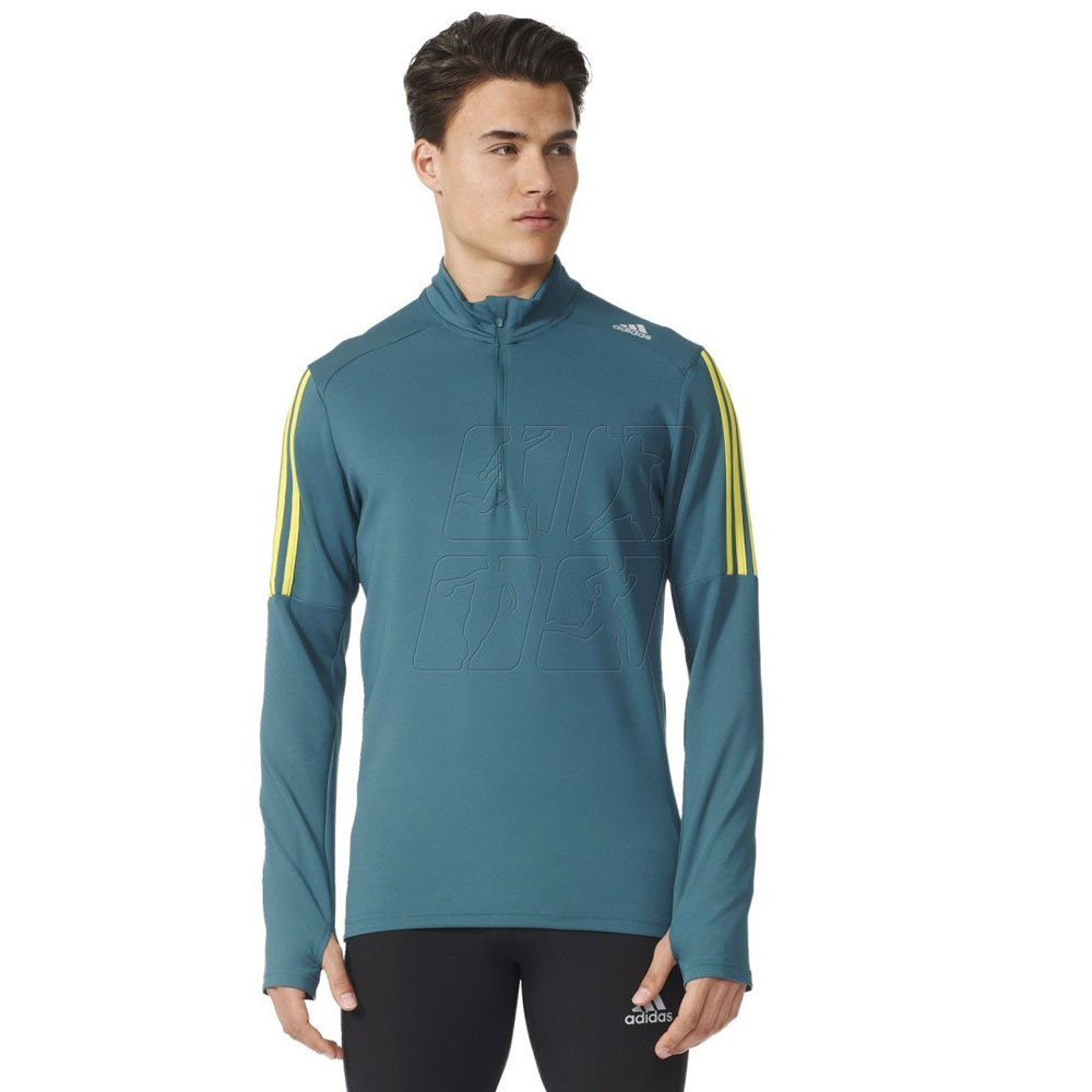 Adidas response mens blue climalite long sleeve half zip for Best full sleeve t shirts