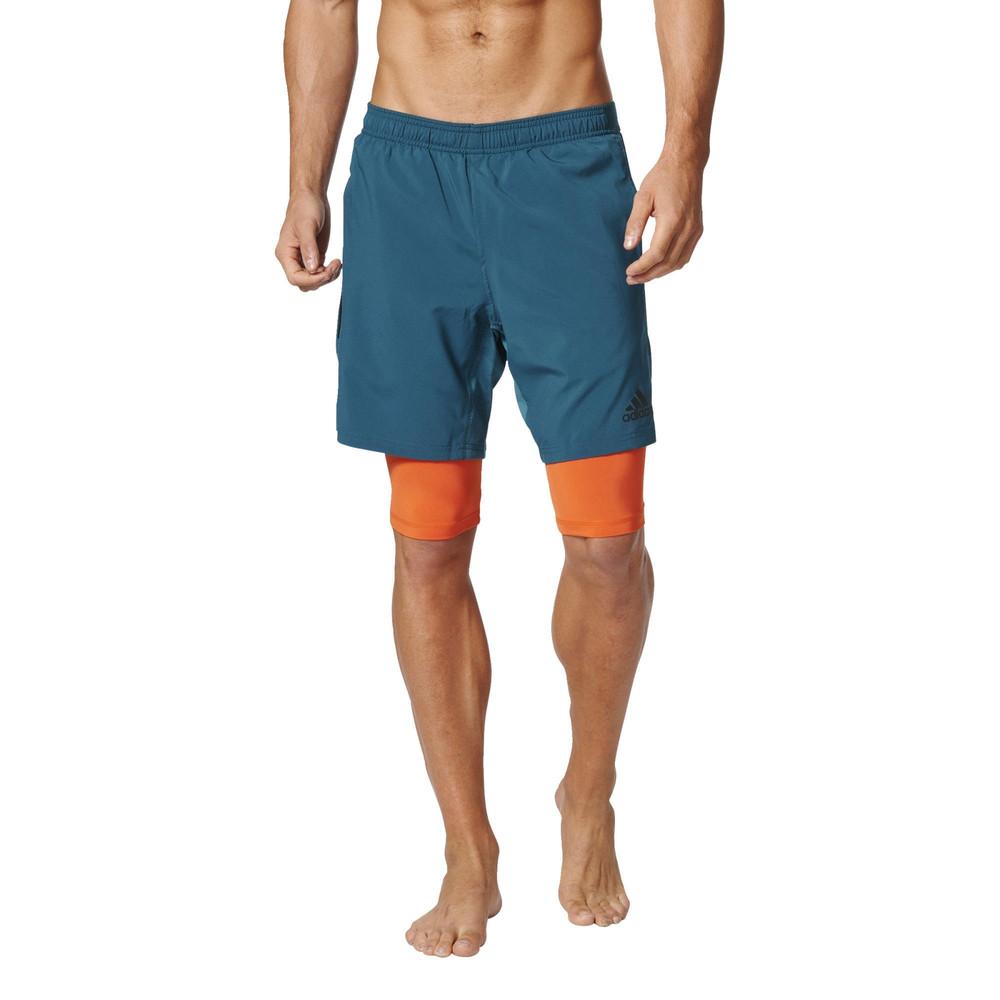 adidas speed climacool 2 in 1 herren trainingshose kurze hose sport shorts blau ebay. Black Bedroom Furniture Sets. Home Design Ideas