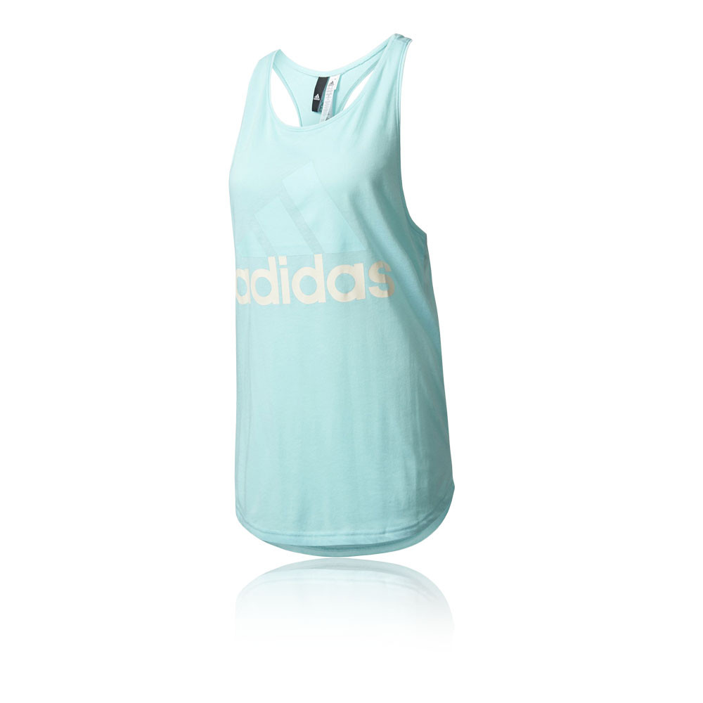 adidas essentials linear loose womens blue sleeveless running vest tank top ebay. Black Bedroom Furniture Sets. Home Design Ideas