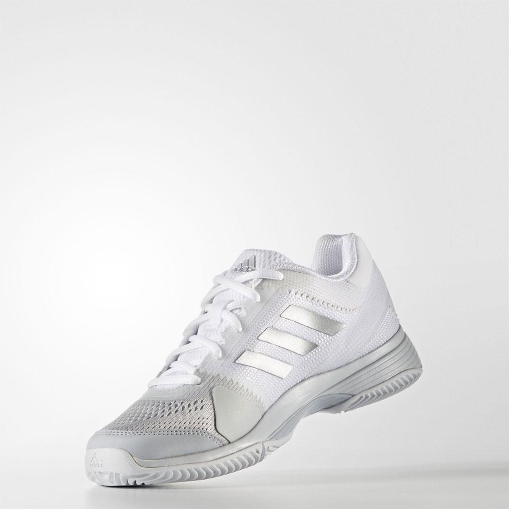 Adidas Womens Barricade Club  Tennis Shoes White Silver