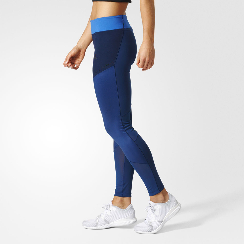 Adidas Ultimate Womens Blue Running Gym Sports Long Tights ...