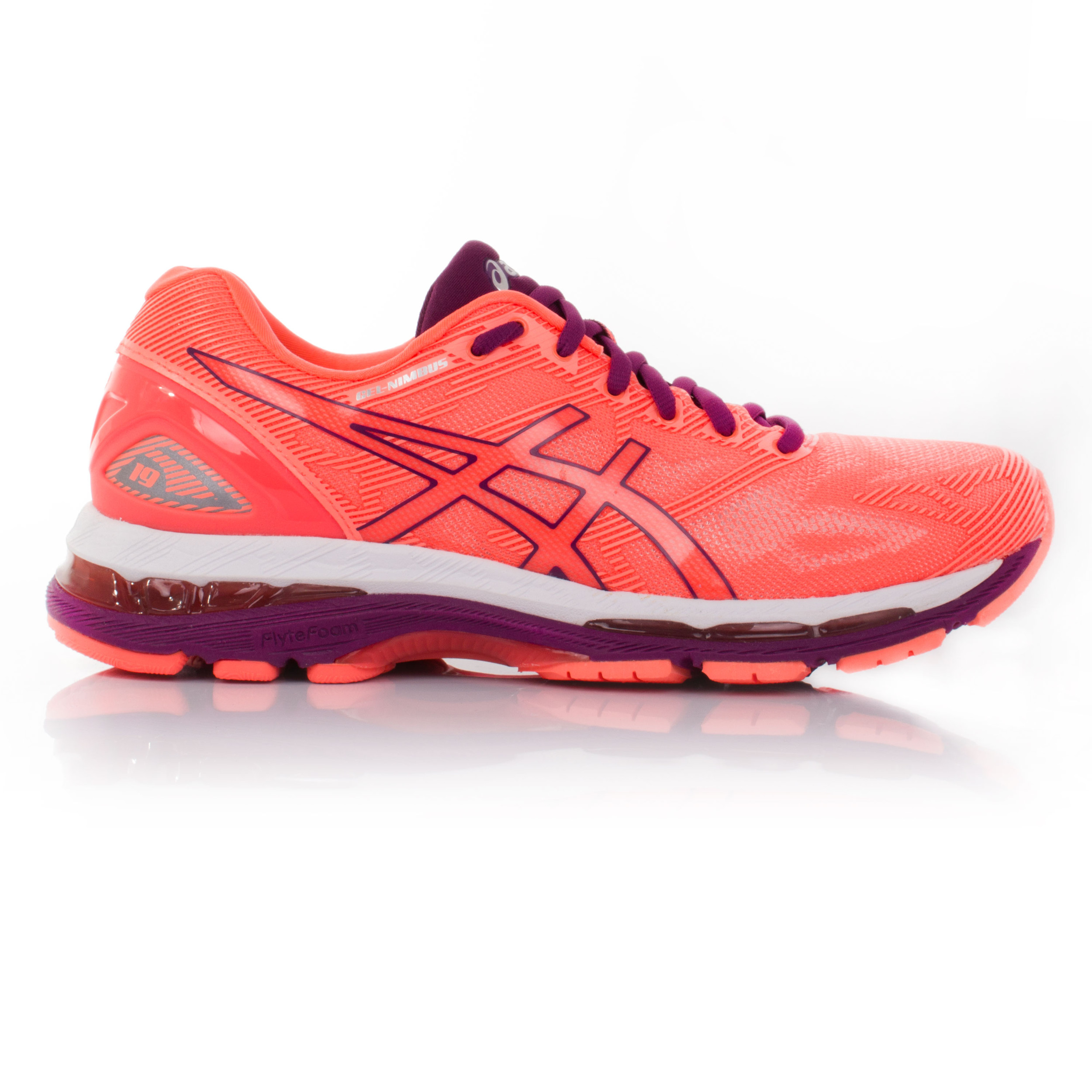 asics gel nimbus 19 femmes orange amorti running fitness chaussures baskets ebay. Black Bedroom Furniture Sets. Home Design Ideas