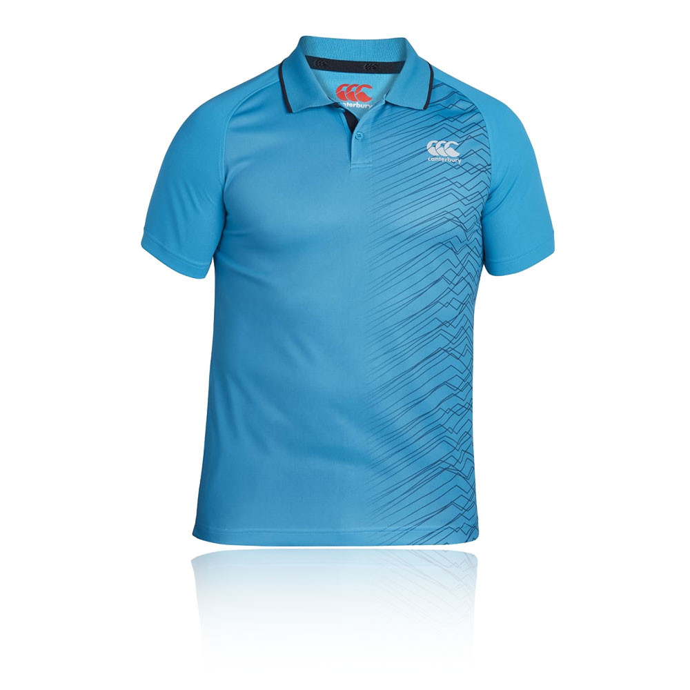Canterbury Vapodri Poly Mens Blue Short Sleeve Rugby Polo