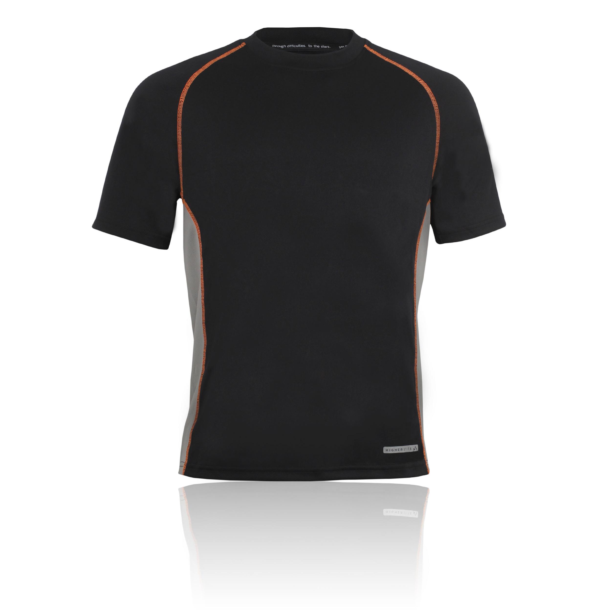 Higher state mens black short sleeve crew neck running for Mens sport t shirts