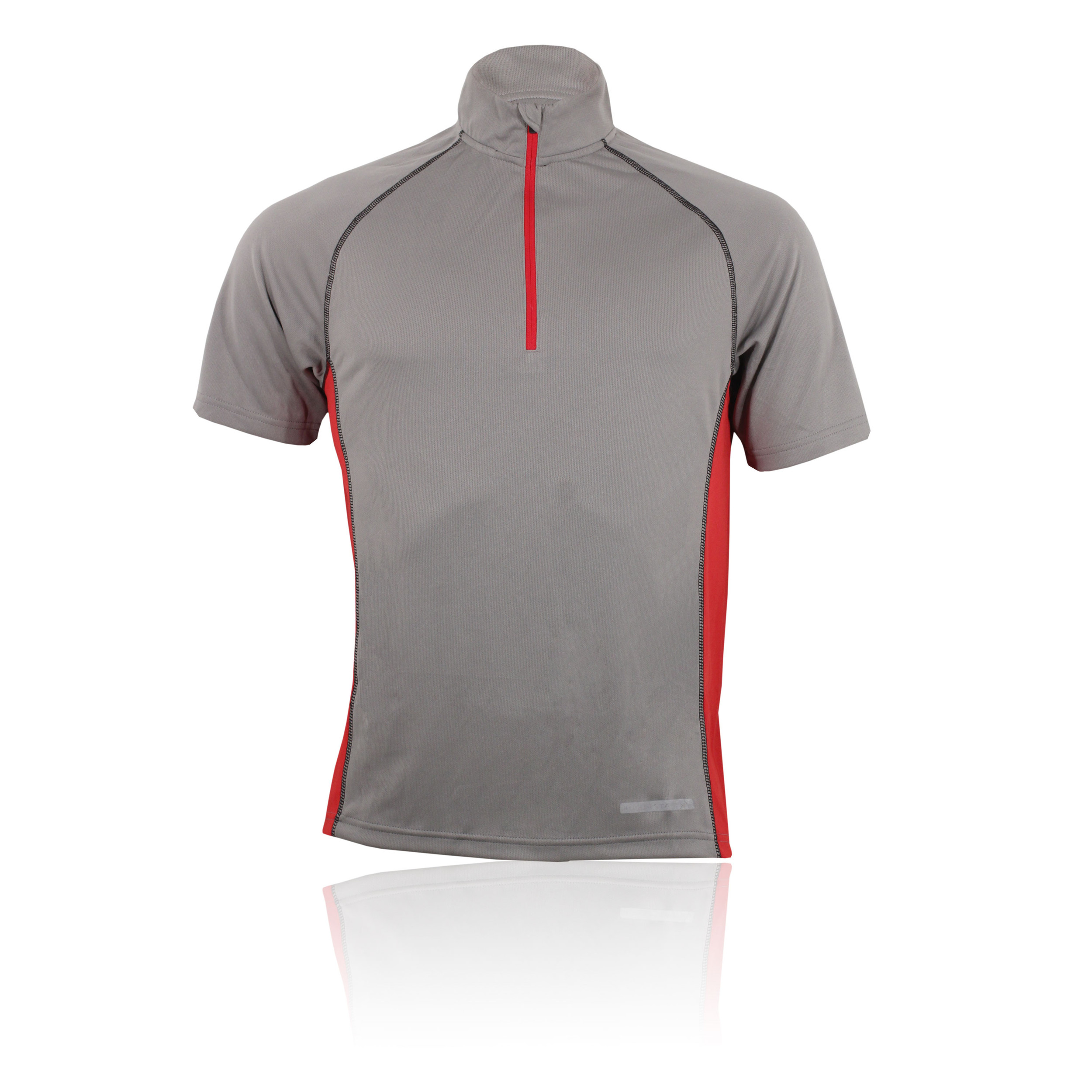 Higher state mens grey red half zip short sleeve for Short sleeve t shirts with longer sleeves