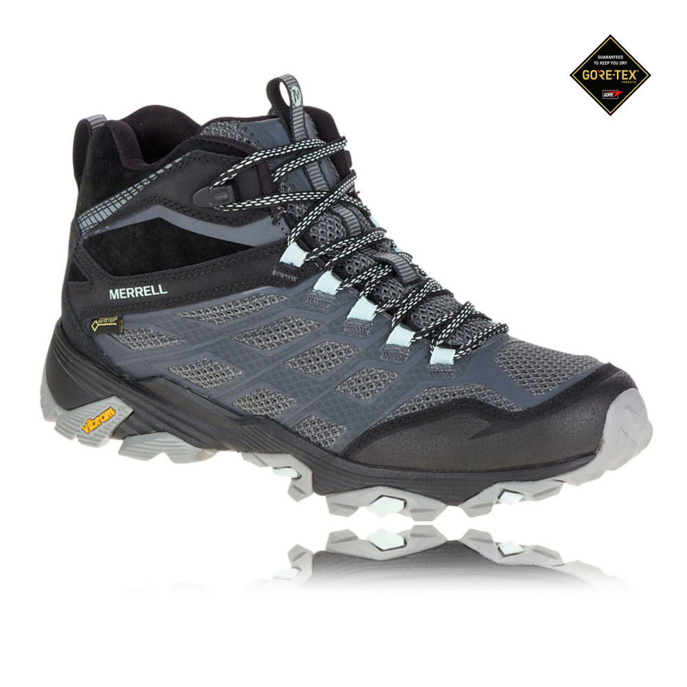 Merrell Moab FST Mid Womens Grey Black Gore Tex Walking Hiking Shoes Boots