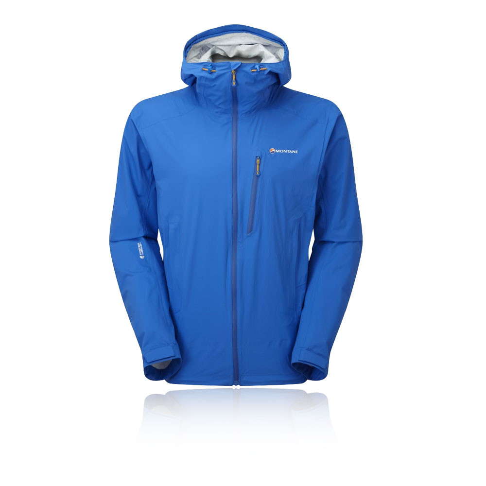 Montane Minimus Stretch Mens Blue Hoody Long Sleeve Zip Outdoor Hooded Jacket