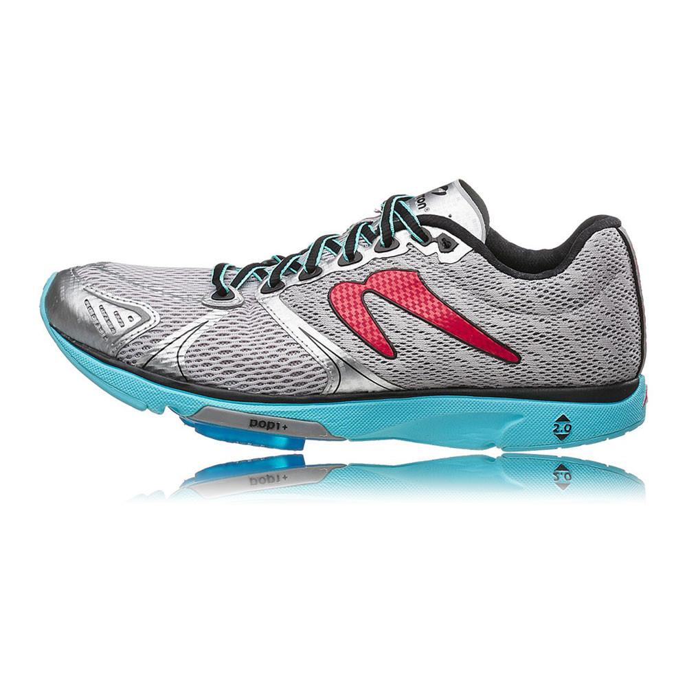 newton distance v womens blue silver cushioned running