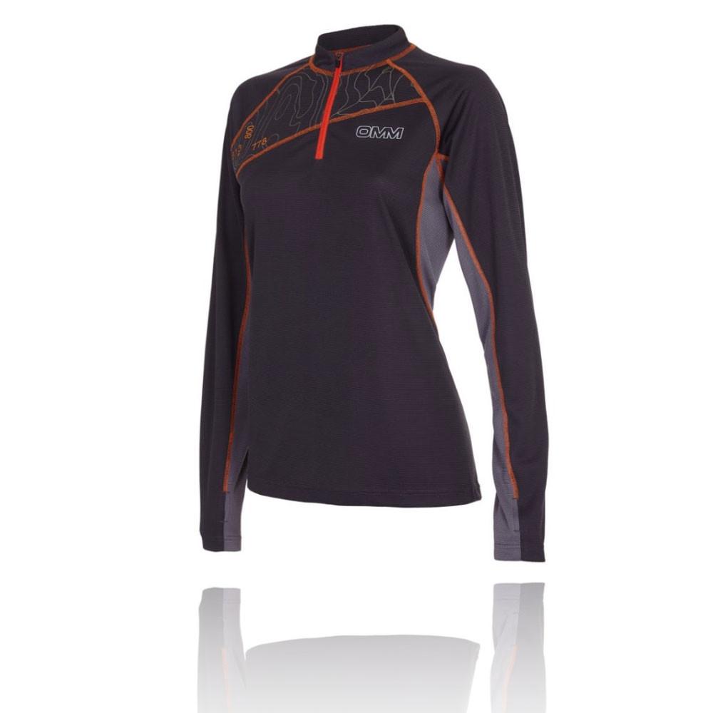 Omm Omm Omm Grid Damen Langarm Laufshirt Sportshirt Jogging Top Funktionsshirt Schwarz  | Qualität und Verbraucher an erster Stelle  19400f