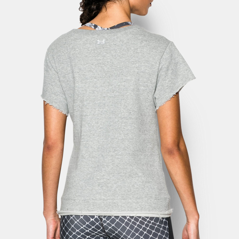 Under armour boxy studio womens grey short sleeve crew for Gray under armour shirt