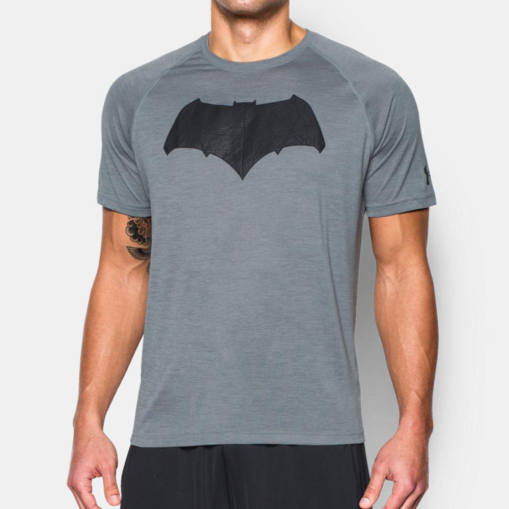 Under armour batman tech mens grey running short sleeve for Gray under armour shirt
