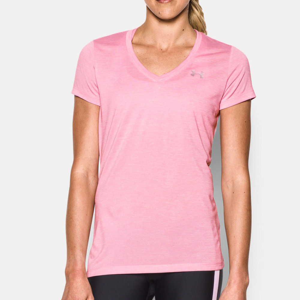 Under armour tech twist womens pink v neck running sports for Under armour women s twisted tech t shirt