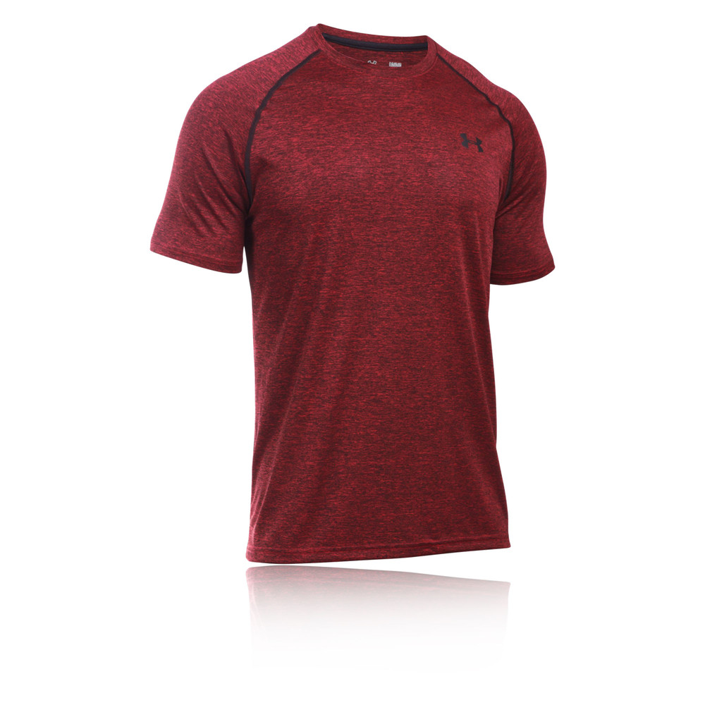 Under armour tech mens red short sleeve running sports tee for Under armour men s tech short sleeve t shirt