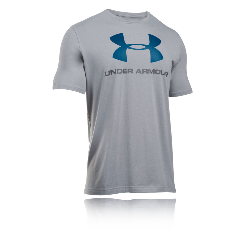 Under armour sportstyle mens grey logo short sleeve sports for Under armour t shirts