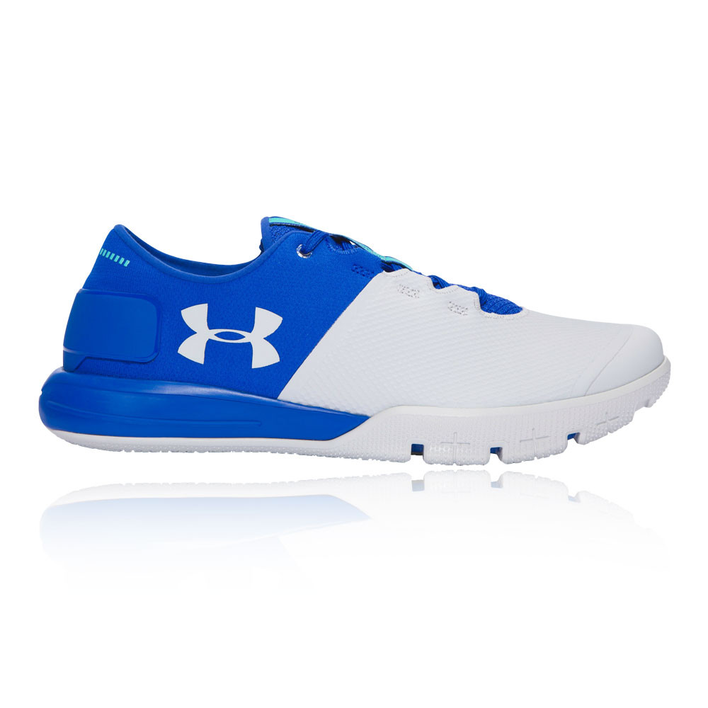 under armour charged ultimate mens white blue sneakers training shoes trainers ebay. Black Bedroom Furniture Sets. Home Design Ideas