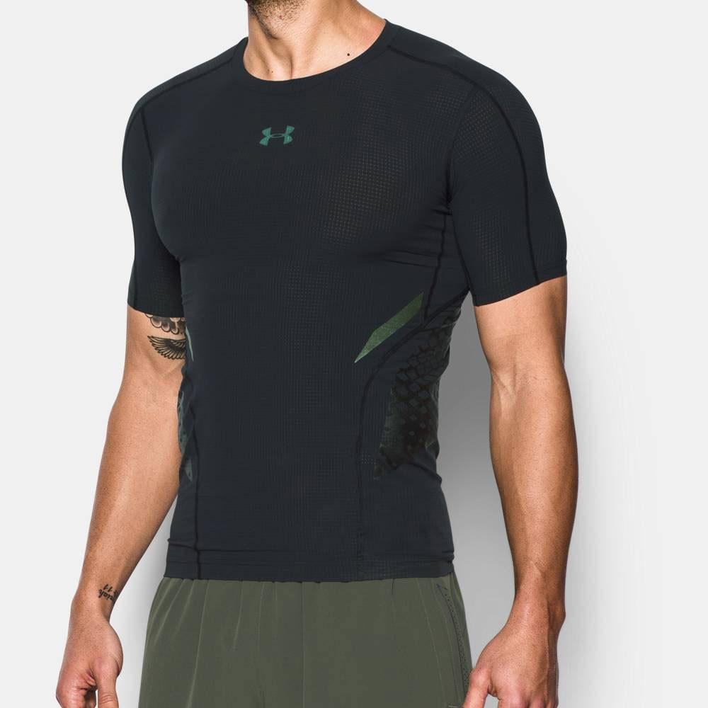 Under armour heatgear zonal mens black compression short for Under armour half sleeve shirt