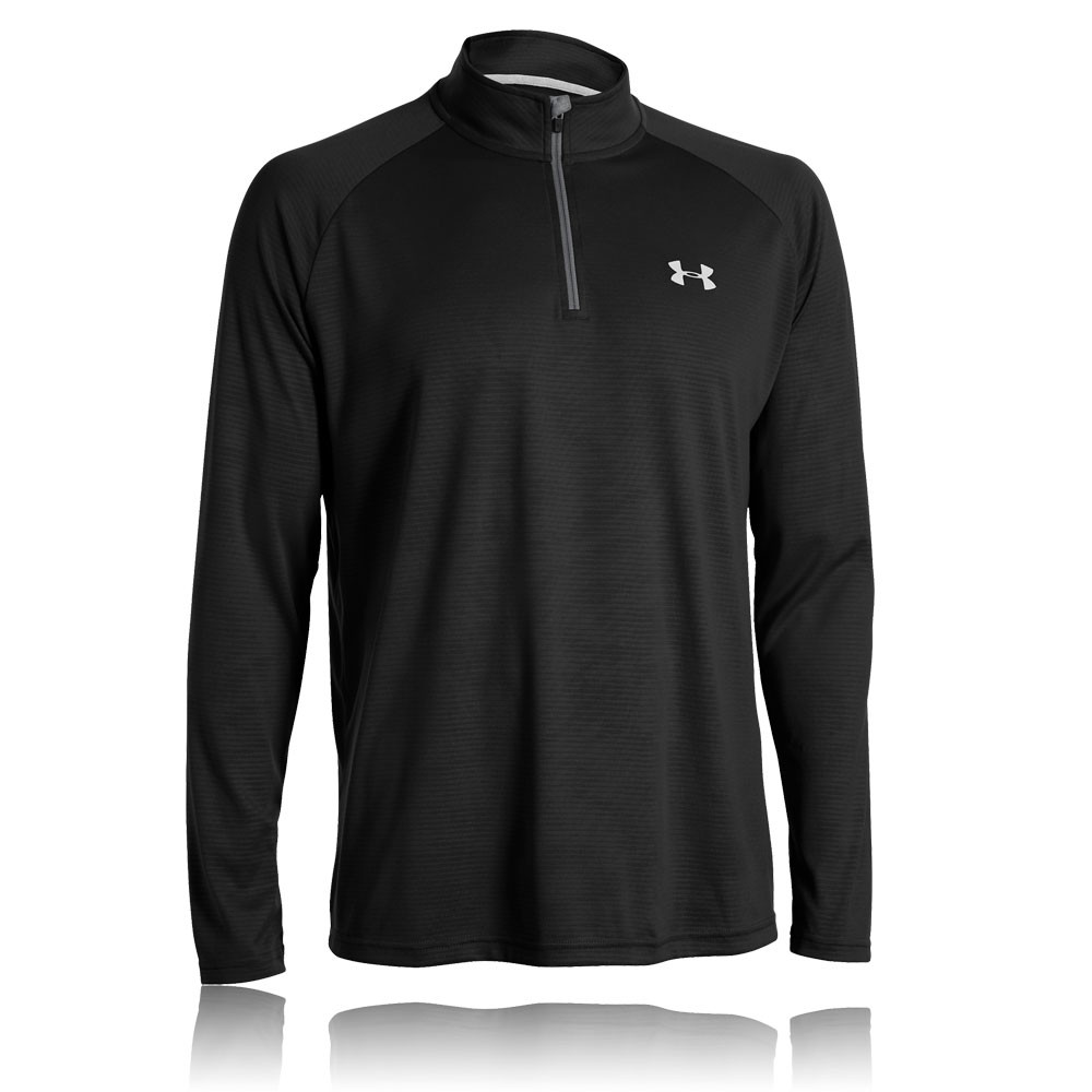 Under Armour Mens Tech Novelty Black Half Zip Long Sleeve