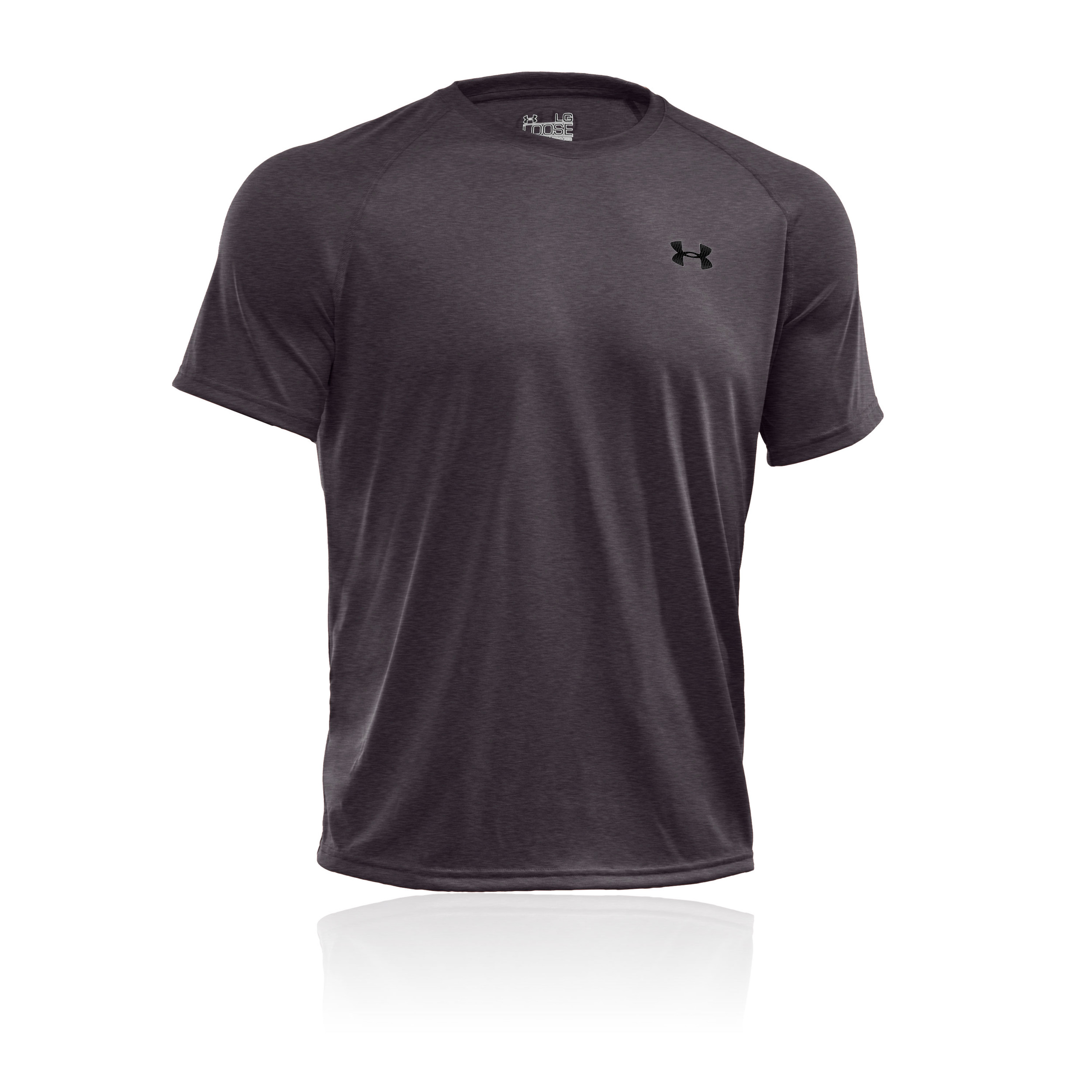 Under armour tech mens grey short sleeve crew neck sport for Under armour men s tech short sleeve t shirt